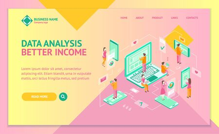 Communication on Internet People Concept Landing Web Page Template 3d Isometric View. Vector Illustration