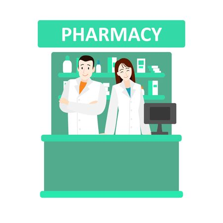 Cartoon Color Characters People Pharmacist and Drugstore Concept. Vector Illustration