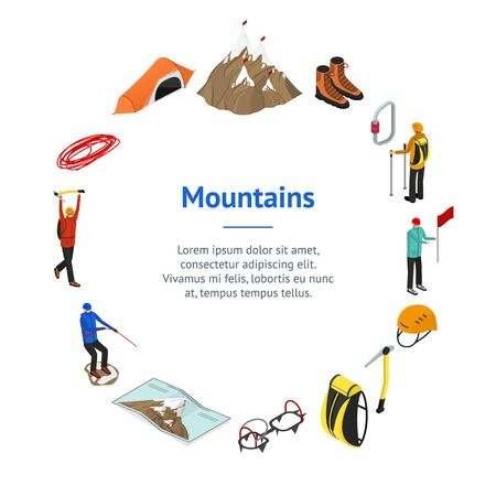 Color Mountaineering Signs 3d Banner Card Circle Isometric View. Vector