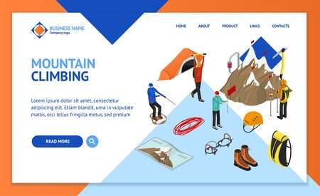 Color Mountaineering Signs 3d Landing Web Page Template Isometric View. Vector
