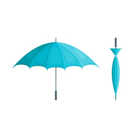 Realistic Detailed 3d Blue Umbrella Set Open and Closed View. Vector