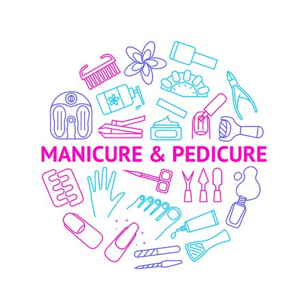 Manicure and Pedicure Thin Line Round Design Template Ad. Vector