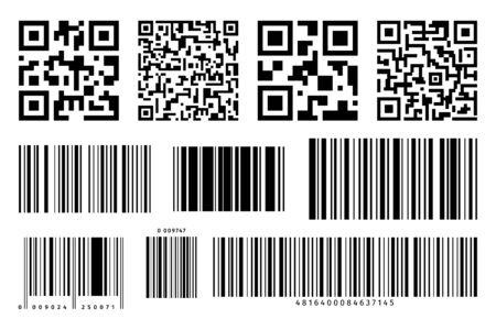 Bar and QR Codes Labels Set. Vector