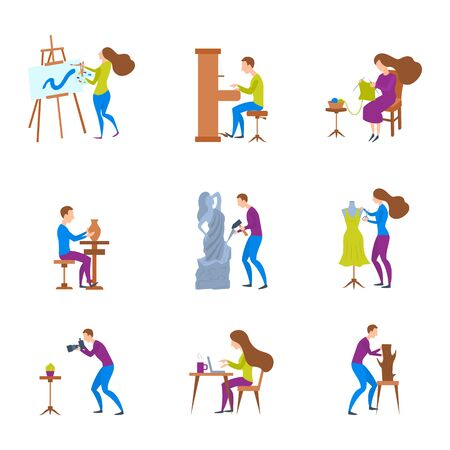 Cartoon Color Characters People and Artistic Hobbies Concept. Vector