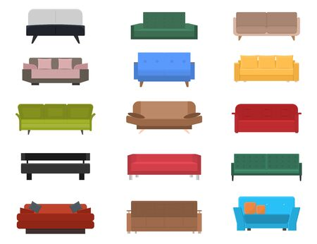 Cartoon kleur comfortabele bank of bank Icon Set. Vector Vector Illustratie