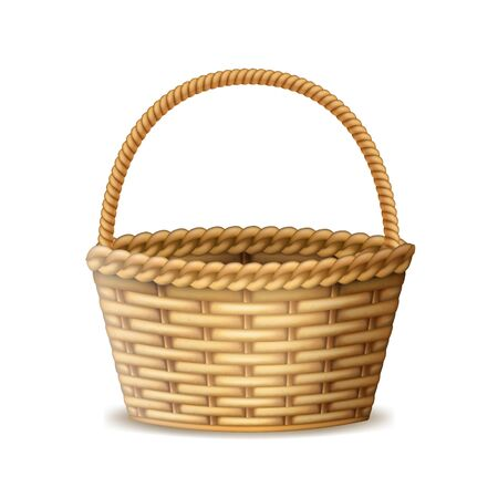 Realistic 3d Detailed Wooden Basket with Handle. Vector