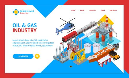 Oil Gas Industry Concept Landing Web Page Template 3d Isometric View. Vector