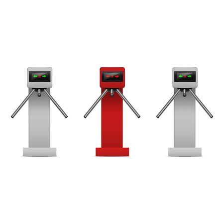Realistic Detailed 3d Turnstile Entrance Access Set. Vector