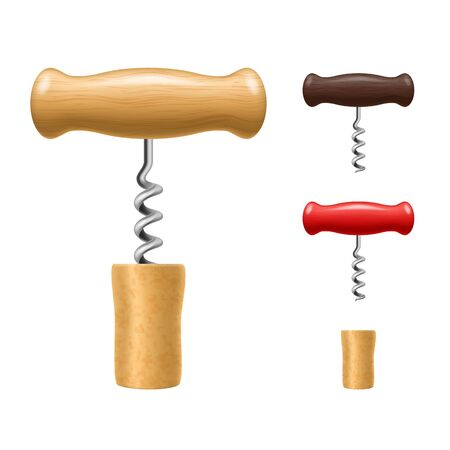 Realistic Detailed 3d Corkscrew and Cork Set. Vector 向量圖像
