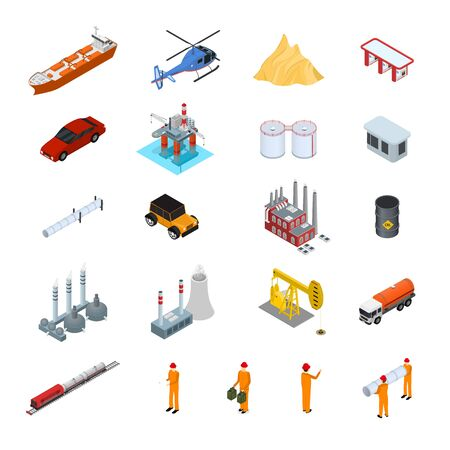 Oil Gas Industry Concept Icon Set 3d Isometric View. Vector