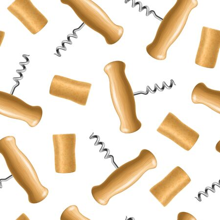 Realistic Detailed 3d Corkscrew and Cork Seamless Pattern Background. Vector 일러스트