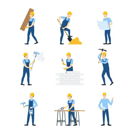 Cartoon Color Character Person Workers Engineers Set. Vector
