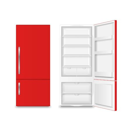 Realistic Detailed 3d Full and Empty Fridge. Vector