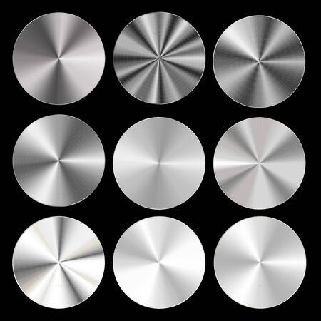 Realistic Detailed 3d Radial Conical Metallic Gradient Set. Vector