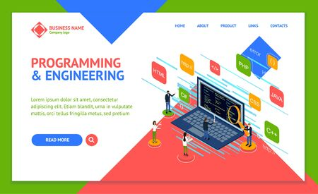 Programmer and Engineering Concept Landing Web Page Template 3d Isometric View. Vector