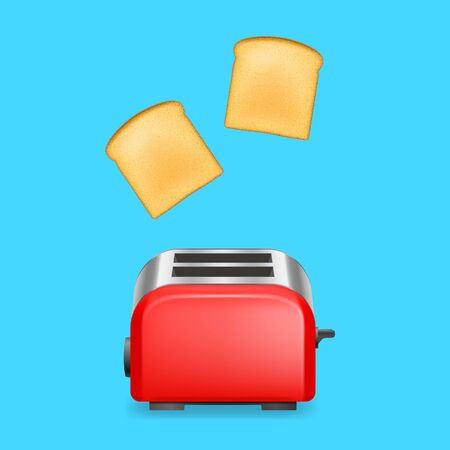 Realistic Detailed 3d Glossy Toaster with Bread Slices on a Blue Kitchen Electric Modern Equipment. Vector illustration of Household Appliance Vector Illustratie