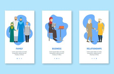 Cartoon Characters Muslim People App Screens Web Banners Cards. Vector