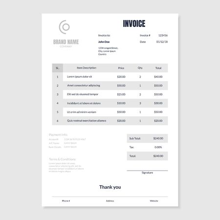 Quotation Invoice Empty Layout Template Paper Sheet. Vector