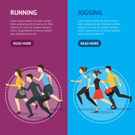 Cartoon Characters Runners Man and Woman People Banner Vecrtical Set Fitness Sport Concept Element Flat Design Style. Vector illustration 스톡 콘텐츠 - 131538124