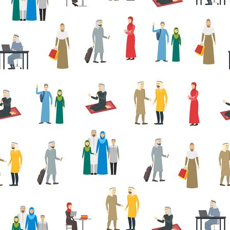 Cartoon Characters Muslim Man and Woman People Seamless Pattern Background. Vector