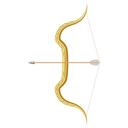 Realistic 3d Detailed Bow and Quiver Arrow. Vector