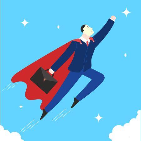 Cartoon Color Character Person Businessman and Super Hero Concept. Vector Çizim