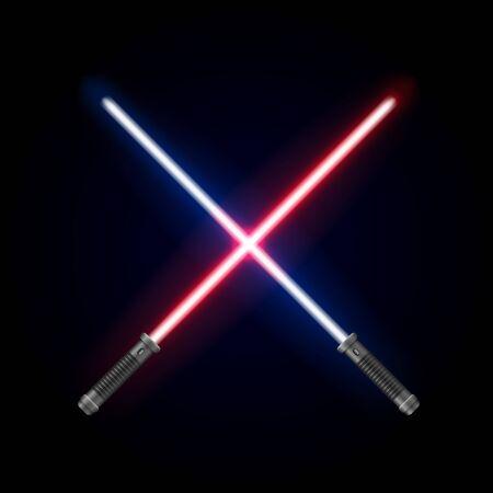 Realistic Detailed 3d Light Futuristic Swords Set. Vector