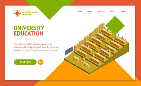 University Auditorium Landing Web Page Template Isometric View Professional Training Service Concept. Vector illustration of People and Equipment