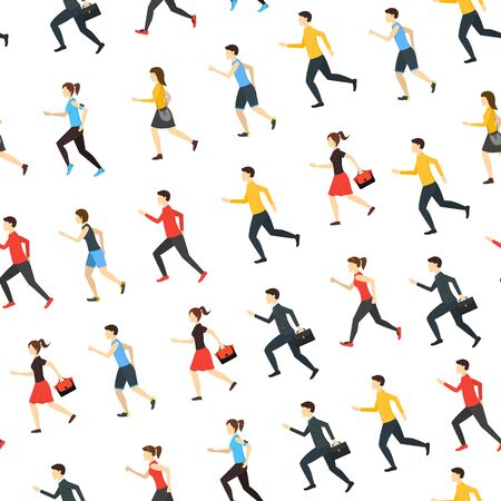 Cartoon Characters Runners Man and Woman People Seamless Pattern Background on a White Fitness Sport Concept Element Flat Design Style. Vector illustration