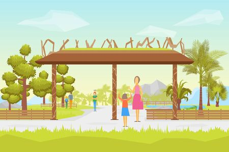 Cartoon Entrance Park Panorama Background Card Children and Parents Leisure Concept Element Flat Design Style. Vector illustration  イラスト・ベクター素材