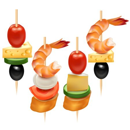 Realistic 3d Detailed Set of Different Canape. Vector