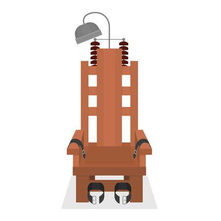 Dibujos animados silla eléctrica marrón vacía símbolo de la pena capital. Vector