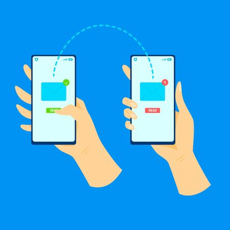 Cartoon Human Hand Using Mobile Phone Sending Love Message Concept on a Blue Element Flat Design Style. Vector illustration  イラスト・ベクター素材