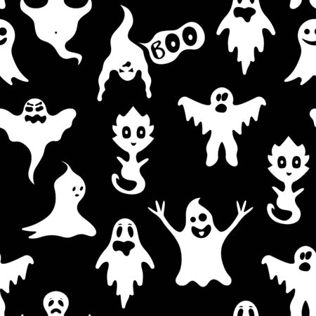 Cartoon White Ghosts Characters Seamless Pattern Background. Vector Vector Illustratie