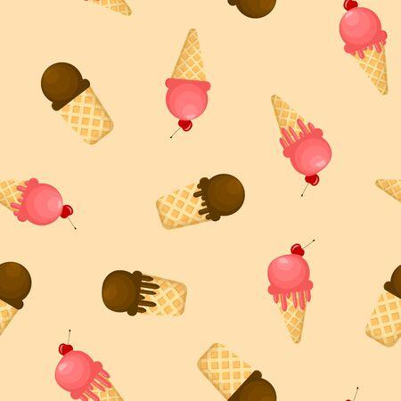 Cartoon Color Ice Cream Melting Seamless Pattern Background. Vector Stock Illustratie