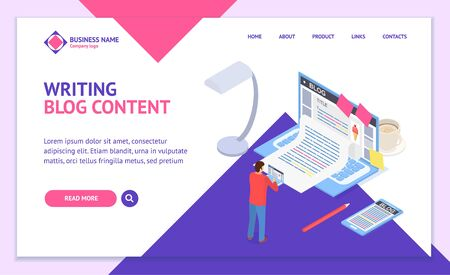Creative Blog Post Concept Landing Web Page Template 3d Isometric View. Vector