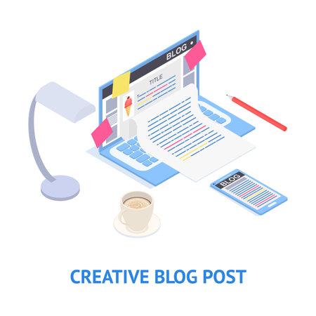 Creative Blog Post Concept Card 3d Isometric View. Vector Çizim