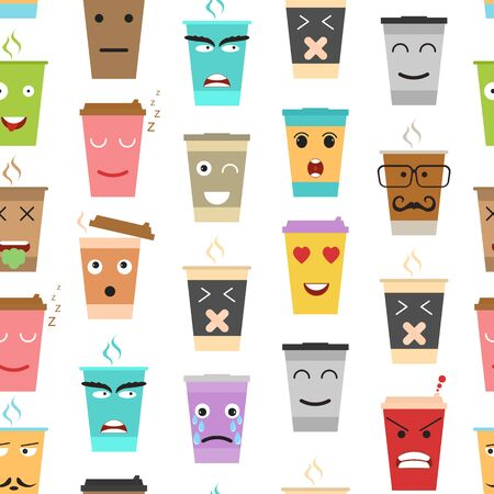 Cartoon Color Cup Coffee or Tea Characters Seamless Pattern Background. Vector