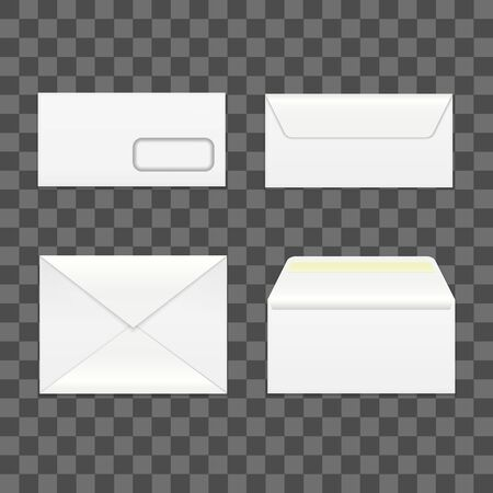 Realistic Detailed 3d White Blank Envelopes Template Mockup Set. Vector