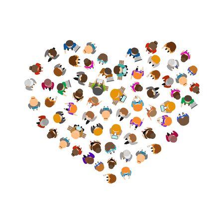 Cartoon Color People Standing Top View Heart Shape Design. Vector Çizim