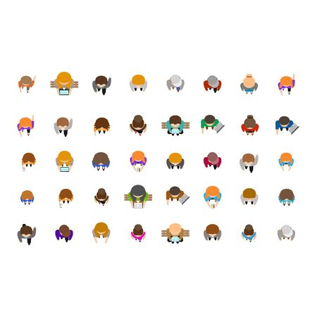 Cartoon Color People Standing Top View Icons Set. Vector