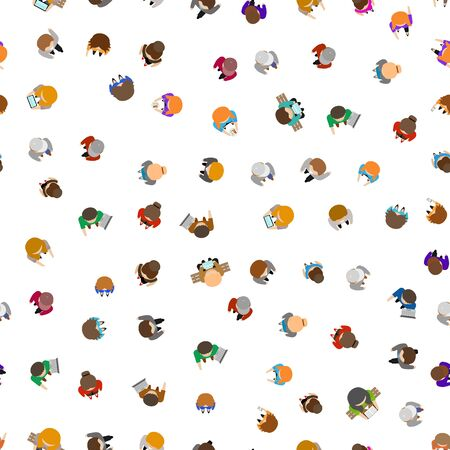 Cartoon Color People Standing Top View Seamless Pattern Background. Vector