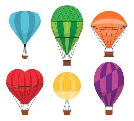 Cartoon Color Air Balloons Icon Set. Vector