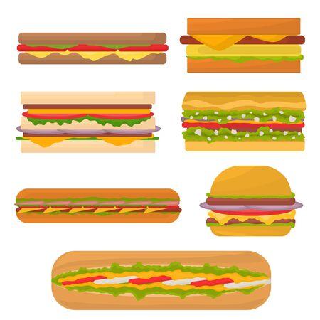 Cartoon Color Tasty Sandwiches Icon Set. Vector