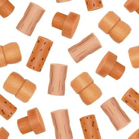 Realistic Detailed 3d Wine Bottle Cork Seamless Pattern Background. Vector  イラスト・ベクター素材