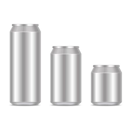 Realistic Detailed 3d Blank Metal Can Template Mockup Set. Vector 向量圖像
