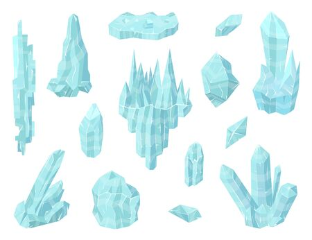 Cartoon Color Pieces of Ice Set. Vector