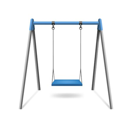 Realistic Detailed 3d Classic Comfortable Outdoor Blue Swing Hanging on Frame Isolated on a White Background. Vector illustration