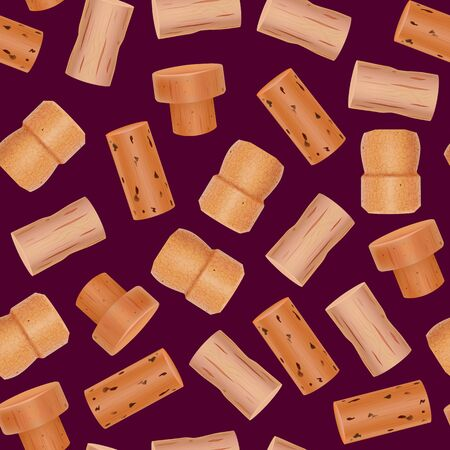 Realistic Detailed 3d Wine Bottle Cork Seamless Pattern Background Closeup View Symbol of Alcohol Beverage and Party. Vector illustration of Corks