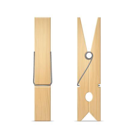 Realistische 3D-Detaillierte Holz-Wäscheklammer-Set für Wäsche und Hausseiten- und Vorderansicht. Vektor-Illustration der Wäscheklammer Vektorgrafik
